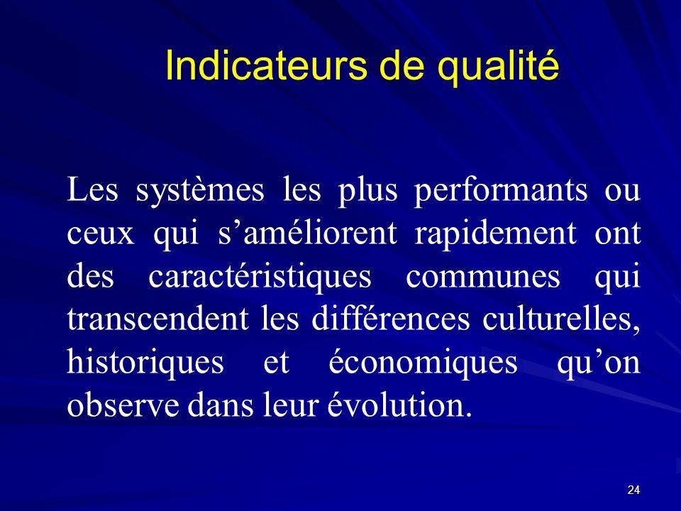 Les systèmes les plus performants ou ceux qui saméliorent rapidement ont des caractéristiques communes qui transcendent les différences culturelles, h