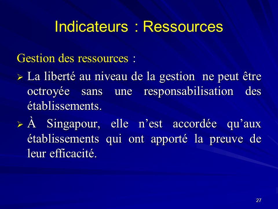 Gestion des ressources : La liberté au niveau de la gestion ne peut être octroyée sans une responsabilisation des établissements. La liberté au niveau