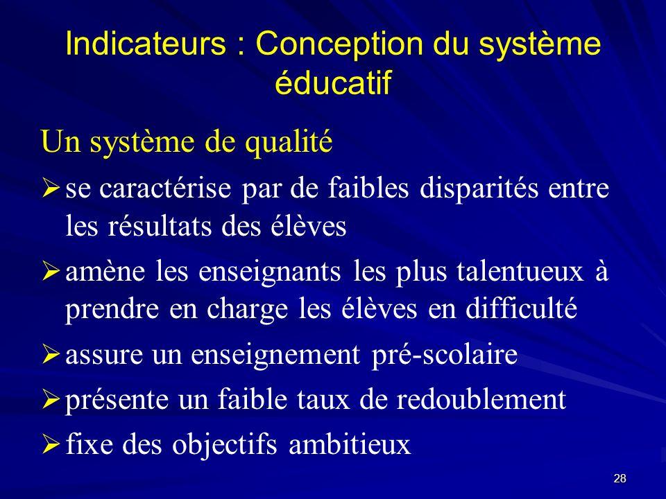 Indicateurs : Conception du système éducatif Un système de qualité se caractérise par de faibles disparités entre les résultats des élèves amène les e