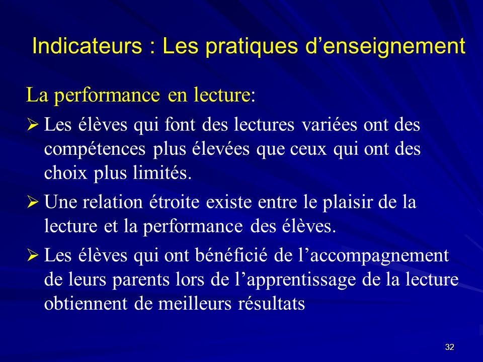 Indicateurs : Les pratiques denseignement La performance en lecture: Les élèves qui font des lectures variées ont des compétences plus élevées que ceu