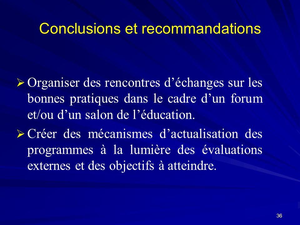 Conclusions et recommandations Organiser des rencontres déchanges sur les bonnes pratiques dans le cadre dun forum et/ou dun salon de léducation. Crée