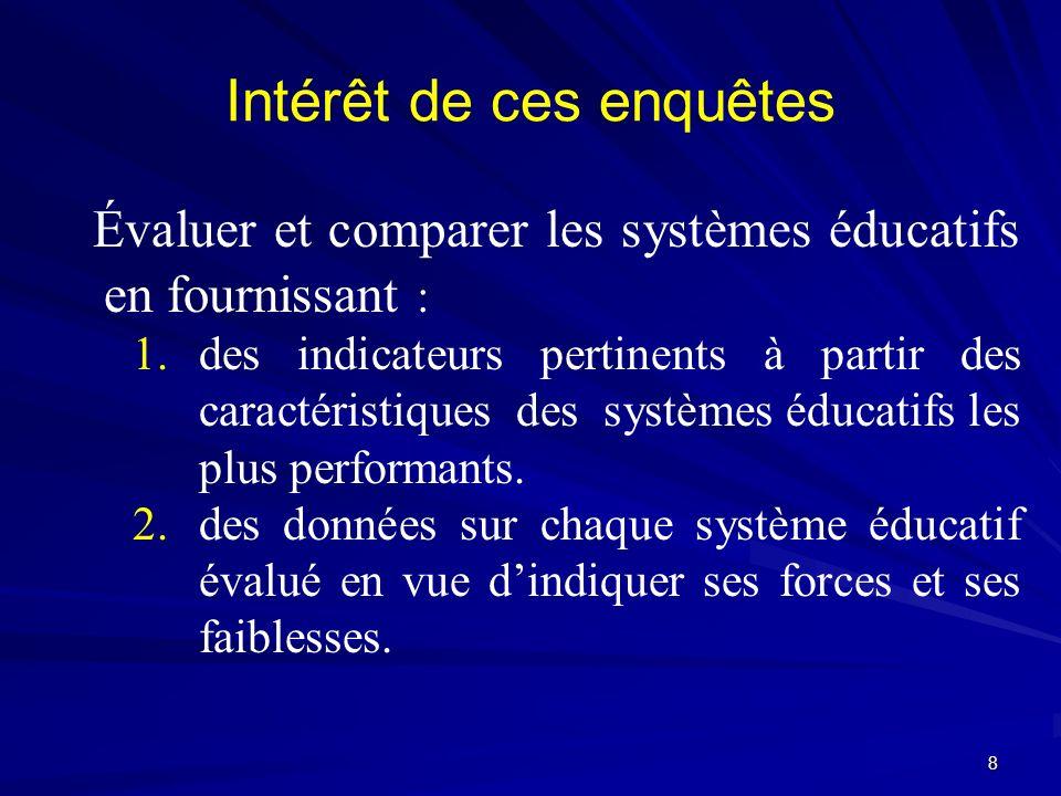 Intérêt de ces enquêtes Évaluer et comparer les systèmes éducatifs en fournissant : 1. 1.des indicateurs pertinents à partir des caractéristiques des