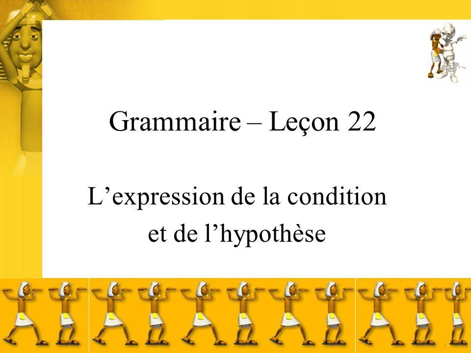 Condition et hypothèse La condition exprime quun fait ou un état est indispensable pour quen conséquence, un autre fait ou état existe.