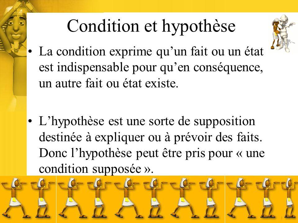 Condition et hypothèse La condition exprime quun fait ou un état est indispensable pour quen conséquence, un autre fait ou état existe. Lhypothèse est