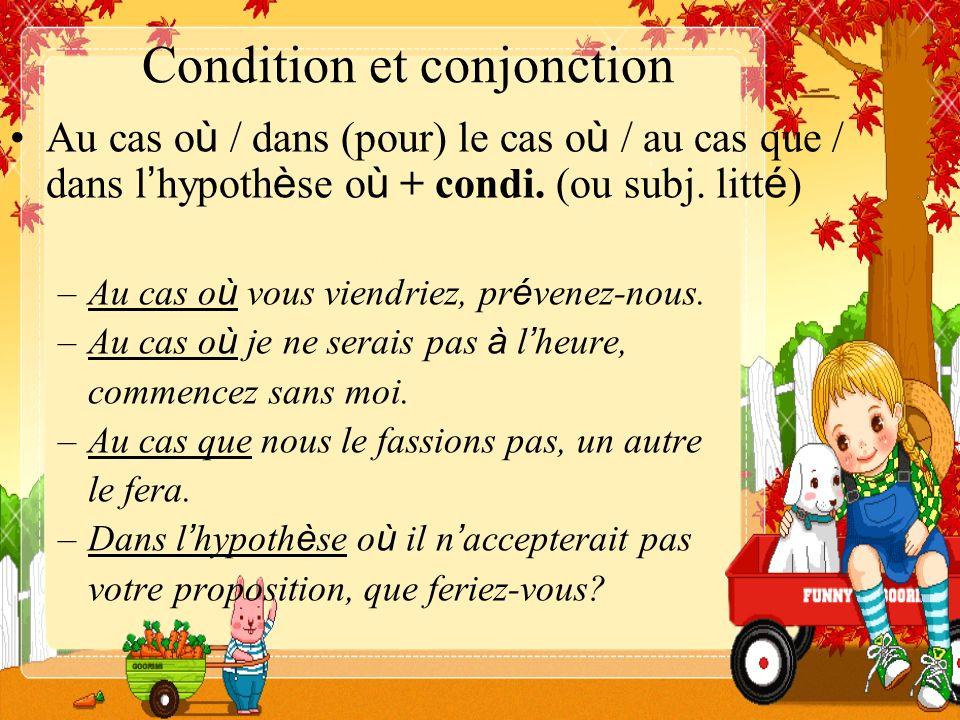 Condition et conjonction Au cas o ù / dans (pour) le cas o ù / au cas que / dans l hypoth è se o ù + condi. (ou subj. litt é ) –Au cas o ù vous viendr