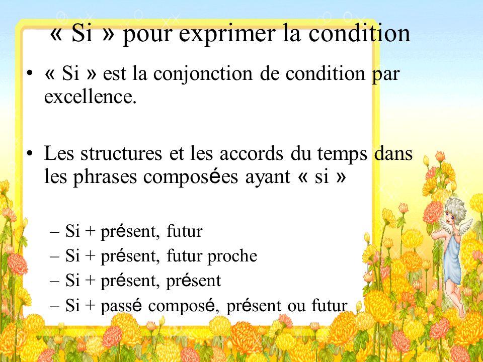 « Si » pour exprimer la condition « Si » est la conjonction de condition par excellence. Les structures et les accords du temps dans les phrases compo