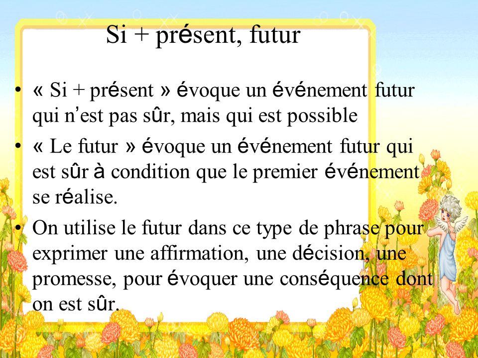 Si + pr é sent, futur « Si + pr é sent » é voque un é v é nement futur qui n est pas s û r, mais qui est possible « Le futur » é voque un é v é nement