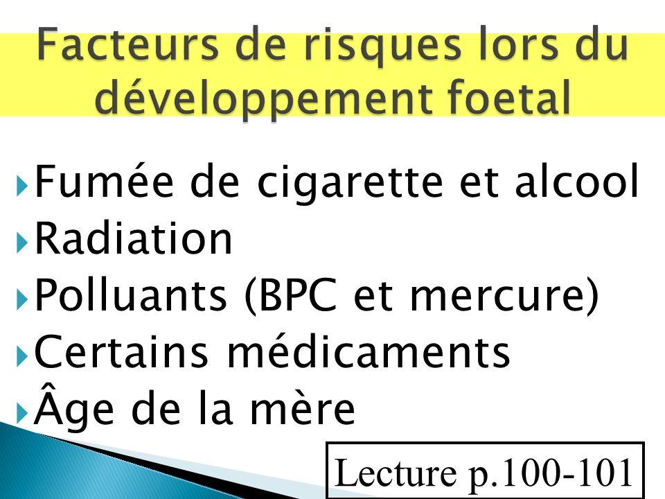 Fumée de cigarette et alcool Radiation Polluants (BPC et mercure) Certains médicaments Âge de la mère Lecture p.100-101