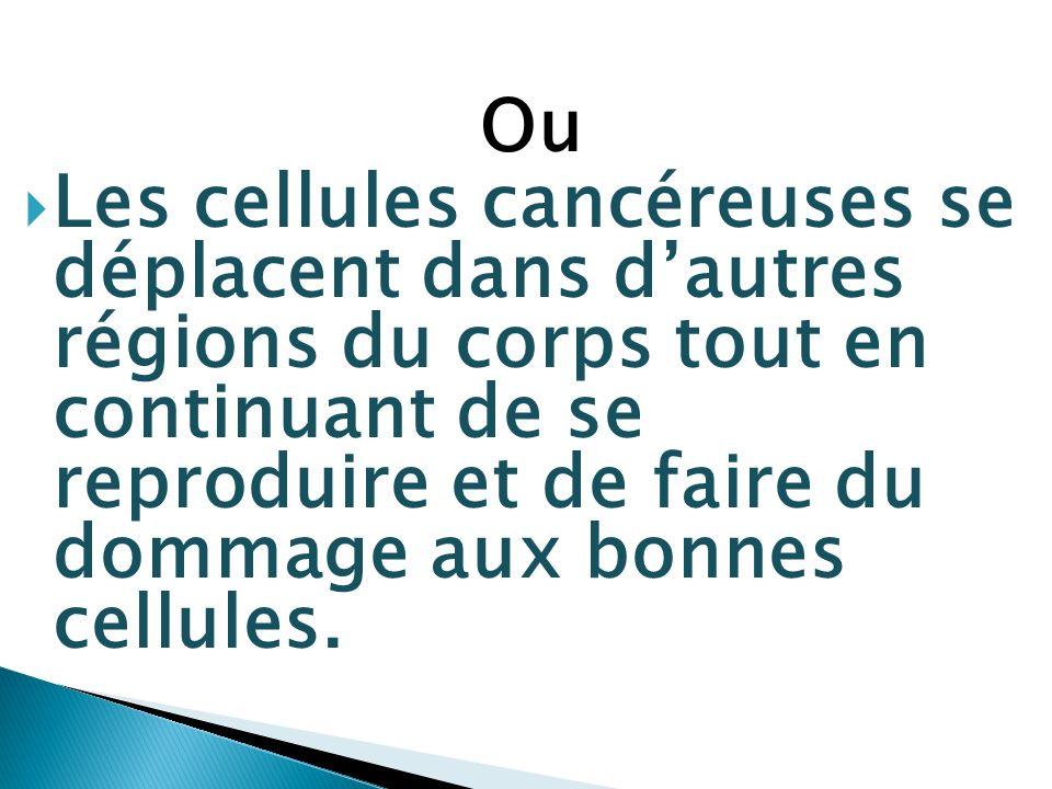Ou Les cellules cancéreuses se déplacent dans dautres régions du corps tout en continuant de se reproduire et de faire du dommage aux bonnes cellules.