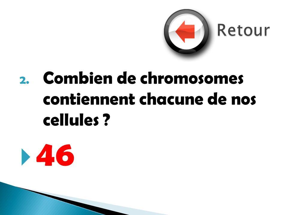 2. Combien de chromosomes contiennent chacune de nos cellules ? 46