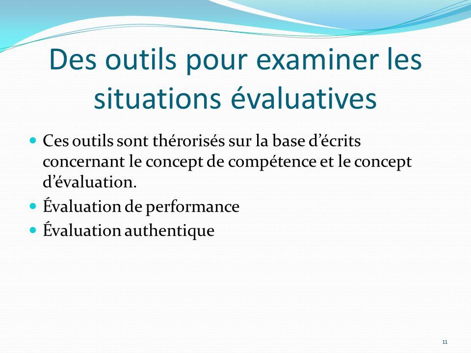 Des outils pour examiner les situations évaluatives Ces outils sont thérorisés sur la base décrits concernant le concept de compétence et le concept d