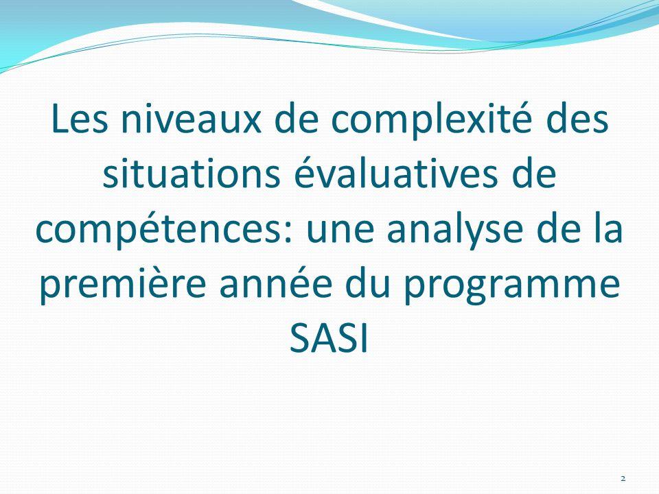 Les niveaux de complexité des situations évaluatives de compétences: une analyse de la première année du programme SASI 2