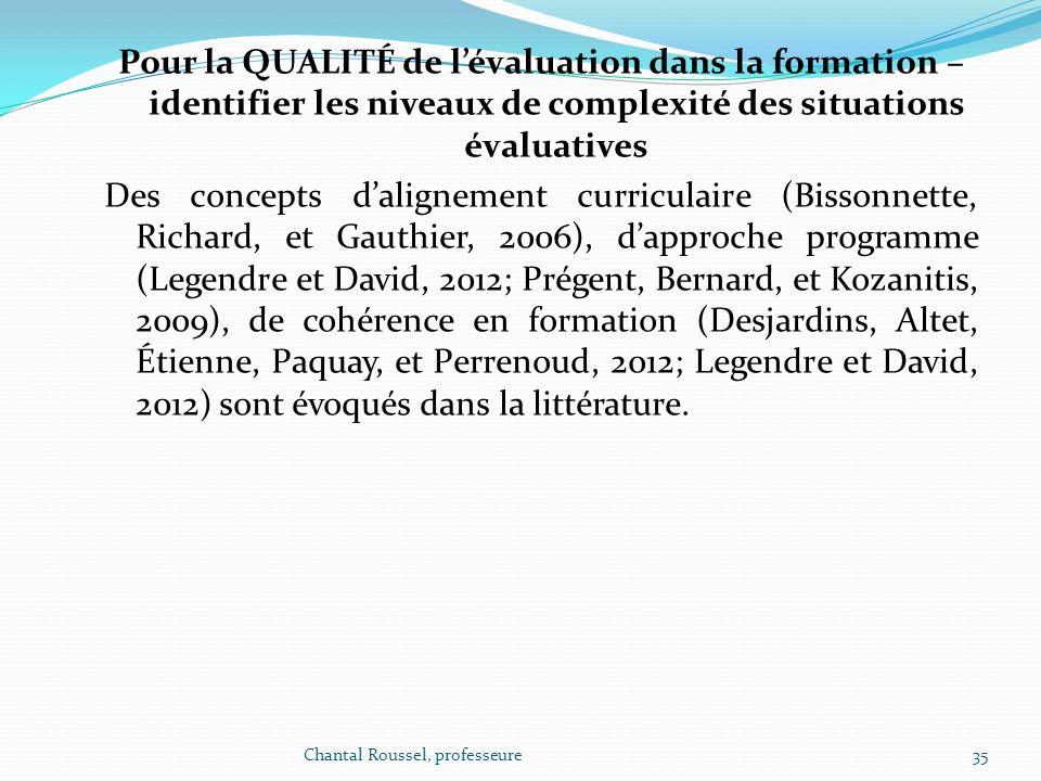 Pour la QUALITÉ de lévaluation dans la formation – identifier les niveaux de complexité des situations évaluatives Des concepts dalignement curriculai