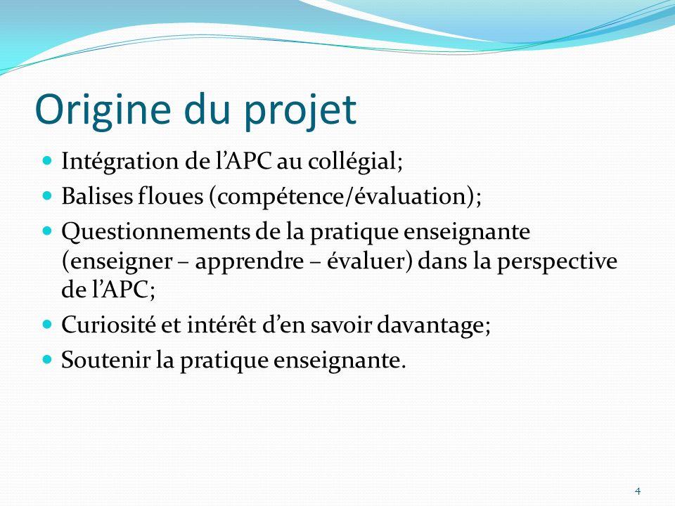 Origine du projet Intégration de lAPC au collégial; Balises floues (compétence/évaluation); Questionnements de la pratique enseignante (enseigner – ap