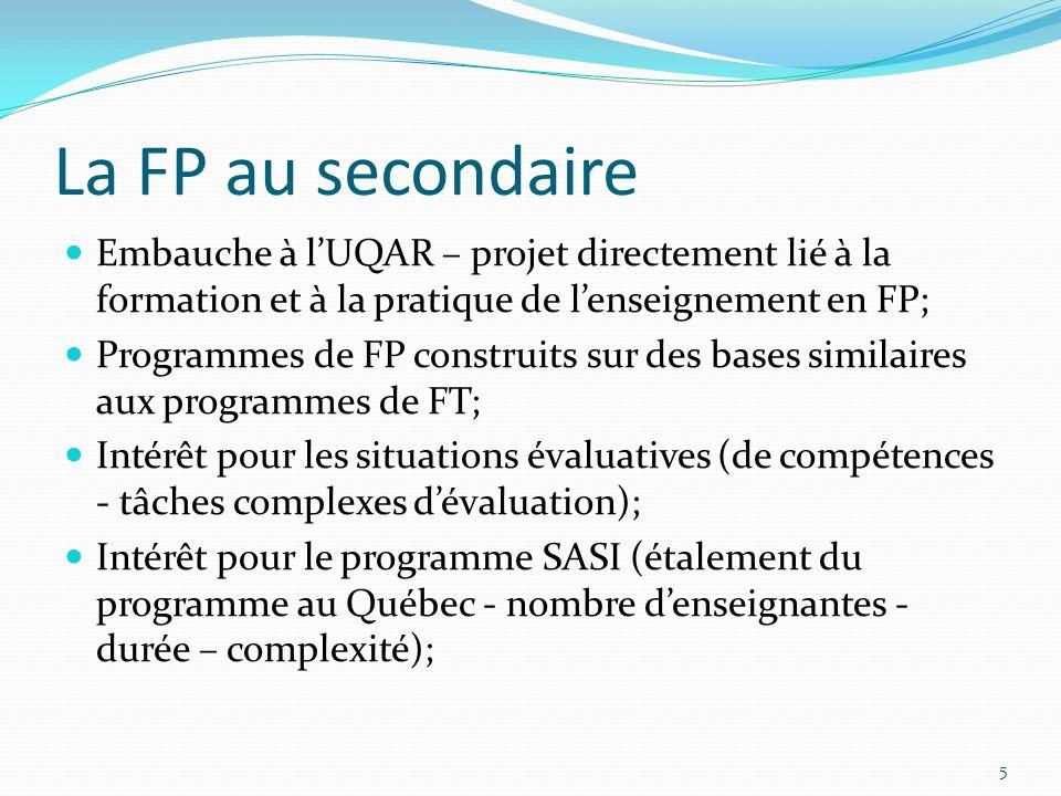 La FP au secondaire Embauche à lUQAR – projet directement lié à la formation et à la pratique de lenseignement en FP; Programmes de FP construits sur