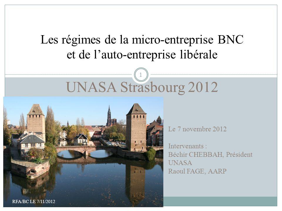 Bienvenue à Paris Les régimes de la micro-entreprise BNC et de lauto-entreprise libérale UNASA Strasbourg 2012 Le 7 novembre 2012 Intervenants : Béchi