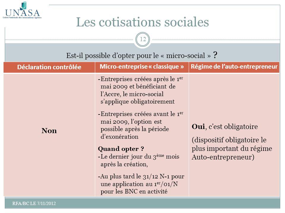 Est-il possible dopter pour le « micro-social » ? Les cotisations sociales Déclaration contrôlée Micro-entreprise « classique »Régime de lauto-entrepr