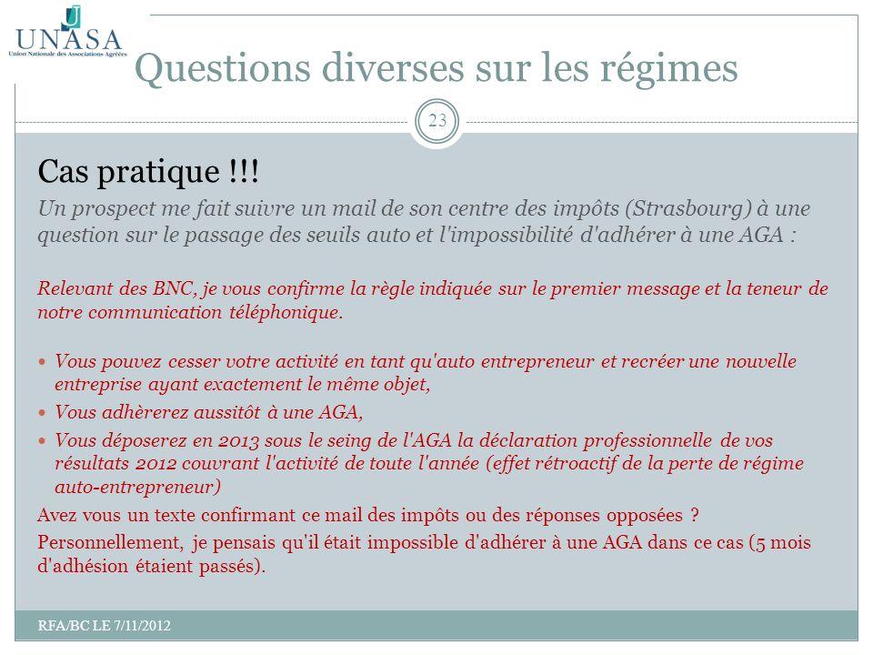 Cas pratique !!! Un prospect me fait suivre un mail de son centre des impôts (Strasbourg) à une question sur le passage des seuils auto et l'impossibi