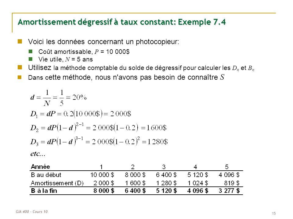 GIA 400 – Cours 10 15 Amortissement dégressif à taux constant: Exemple 7.4 Voici les données concernant un photocopieur: Coût amortissable, P = 10 000