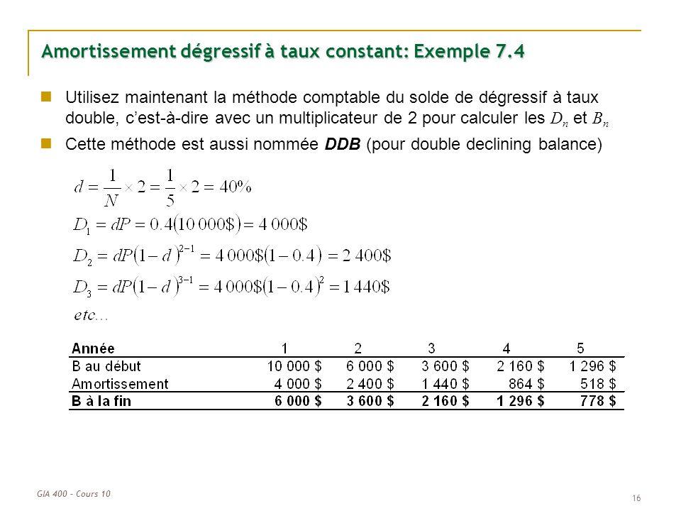 GIA 400 – Cours 10 Amortissement dégressif à taux constant: Exemple 7.4 Utilisez maintenant la méthode comptable du solde de dégressif à taux double,