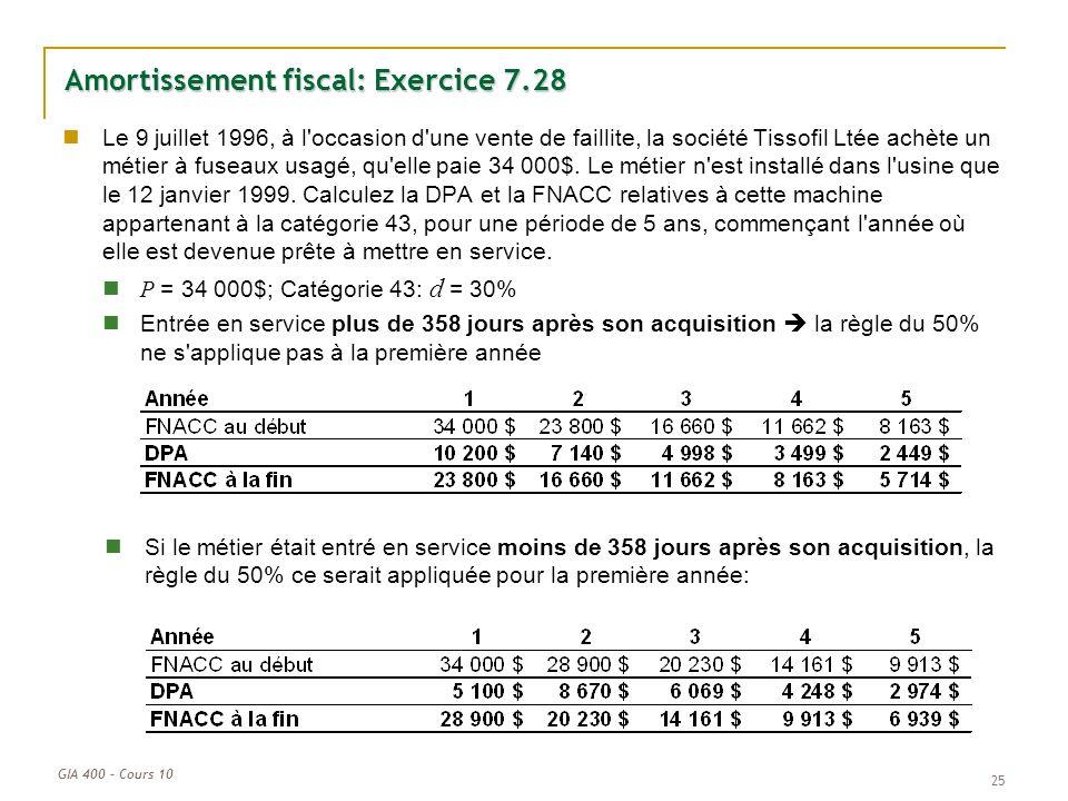 GIA 400 – Cours 10 25 Amortissement fiscal: Exercice 7.28 Le 9 juillet 1996, à l'occasion d'une vente de faillite, la société Tissofil Ltée achète un