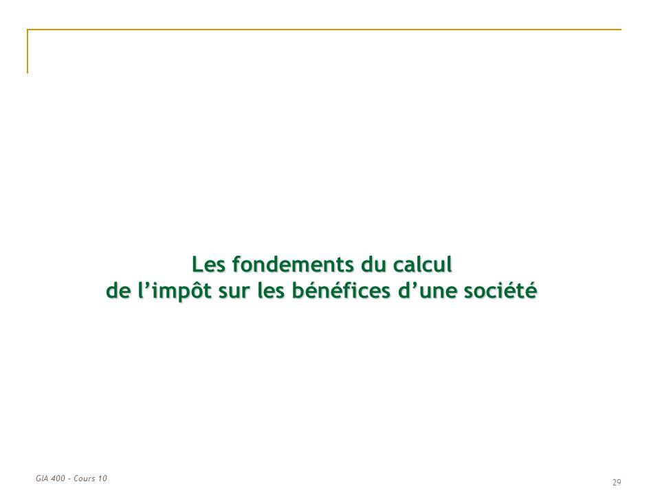 GIA 400 – Cours 10 Les fondements du calcul de limpôt sur les bénéfices dune société 29