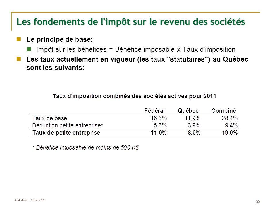 GIA 400 – Cours 11 30 Les fondements de l'impôt sur le revenu des sociétés Le principe de base: Impôt sur les bénéfices = Bénéfice imposable x Taux d'