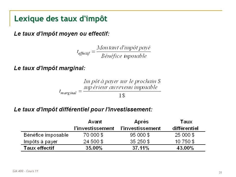 GIA 400 – Cours 11 31 Lexique des taux d'impôt Le taux d'impôt moyen ou effectif: Le taux d'impôt marginal: Le taux d'impôt différentiel pour l'invest