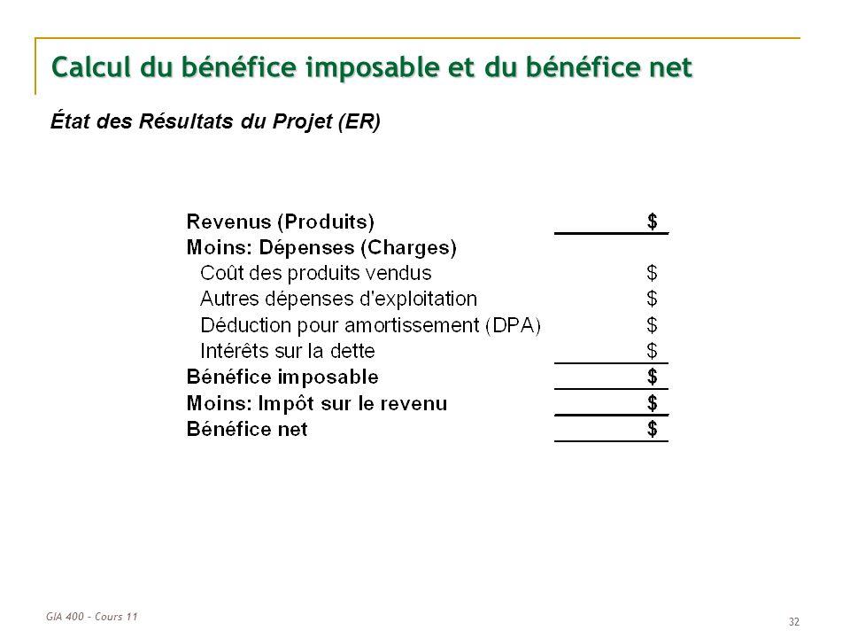 GIA 400 – Cours 11 32 Calcul du bénéfice imposable et du bénéfice net État des Résultats du Projet (ER)
