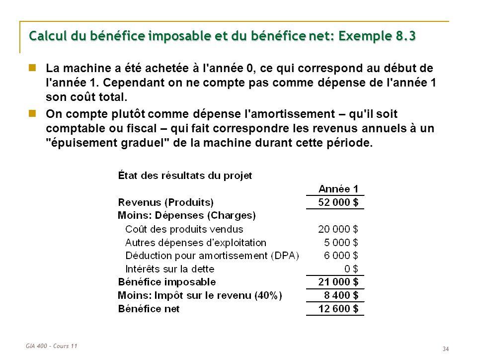 GIA 400 – Cours 11 34 Calcul du bénéfice imposable et du bénéfice net: Exemple 8.3 La machine a été achetée à l'année 0, ce qui correspond au début de