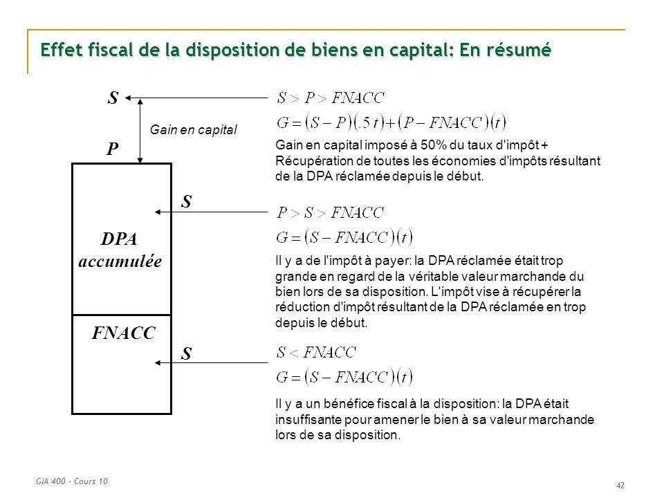 GIA 400 – Cours 10 42 Effet fiscal de la disposition de biens en capital: En résumé P FNACC DPA accumulée Gain en capital imposé à 50% du taux d'impôt