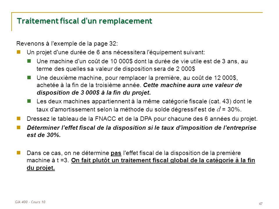GIA 400 – Cours 10 47 Traitement fiscal d'un remplacement Revenons à l'exemple de la page 32: Un projet d'une durée de 6 ans nécessitera l'équipement