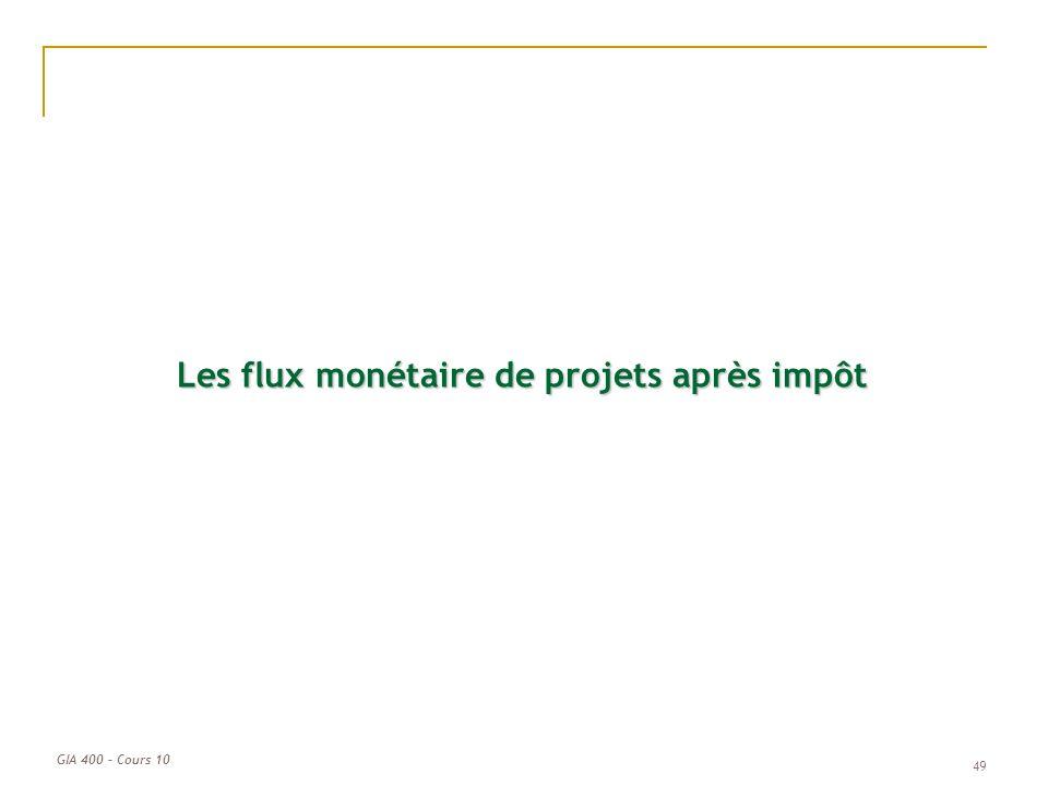 GIA 400 – Cours 10 Les flux monétaire de projets après impôt 49