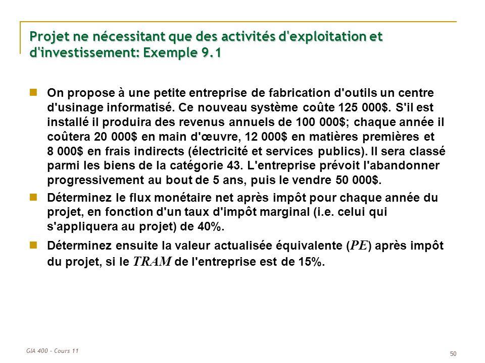 GIA 400 – Cours 11 50 Projet ne nécessitant que des activités d'exploitation et d'investissement: Exemple 9.1 On propose à une petite entreprise de fa