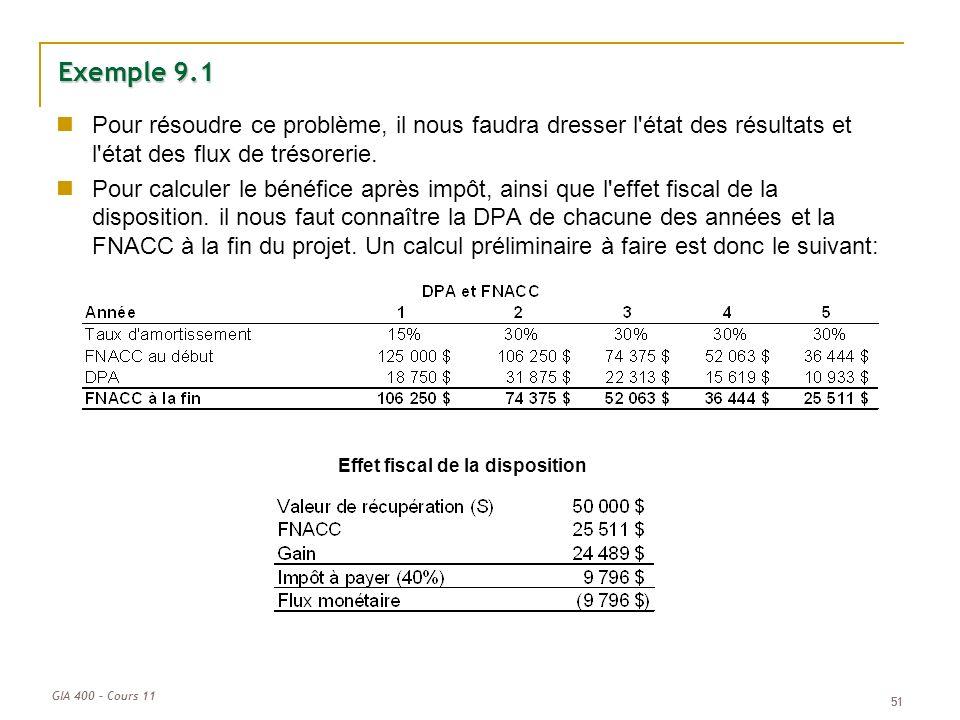 GIA 400 – Cours 11 51 Exemple 9.1 Pour résoudre ce problème, il nous faudra dresser l'état des résultats et l'état des flux de trésorerie. Pour calcul