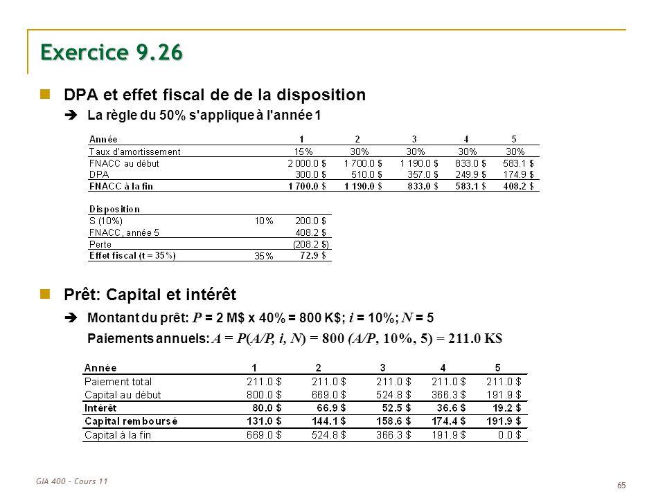 GIA 400 – Cours 11 65 Exercice 9.26 DPA et effet fiscal de de la disposition La règle du 50% s'applique à l'année 1 Prêt: Capital et intérêt Montant d