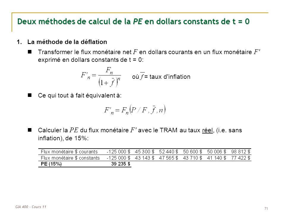 GIA 400 – Cours 11 71 Deux méthodes de calcul de la PE en dollars constants de t = 0 1.La méthode de la déflation Transformer le flux monétaire net F