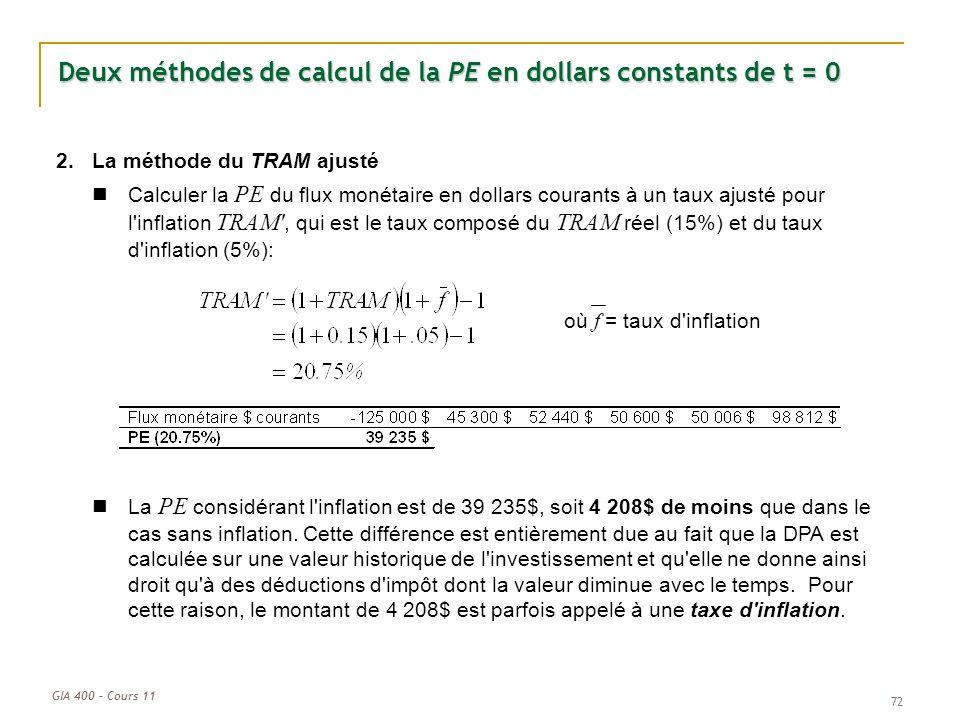 GIA 400 – Cours 11 72 Deux méthodes de calcul de la PE en dollars constants de t = 0 2.La méthode du TRAM ajusté Calculer la PE du flux monétaire en d