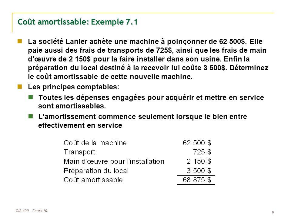 GIA 400 – Cours 10 9 Coût amortissable: Exemple 7.1 La société Lanier achète une machine à poinçonner de 62 500$. Elle paie aussi des frais de transpo