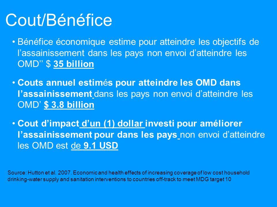 Cout/Bénéfice Bénéfice économique estime pour atteindre les objectifs de lassainissement dans les pays non envoi datteindre les OMD $ 35 billion Couts