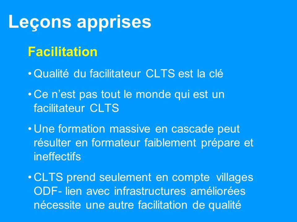 Leçons apprises Facilitation Qualité du facilitateur CLTS est la clé Ce nest pas tout le monde qui est un facilitateur CLTS Une formation massive en c