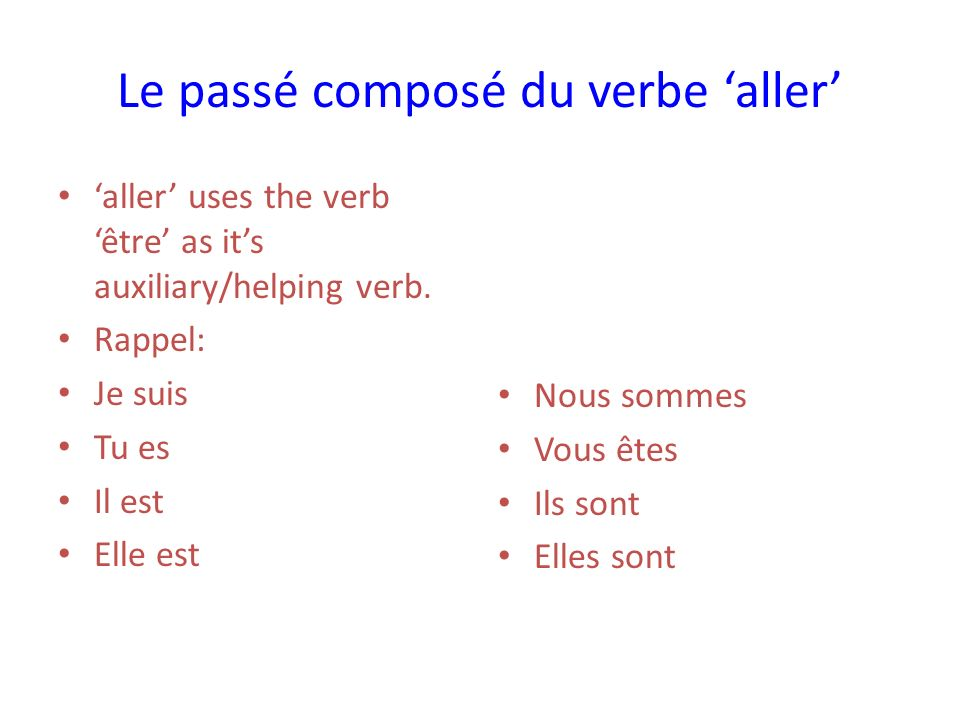 Le passé composé du verbe aller aller uses the verb être as its auxiliary/helping verb.