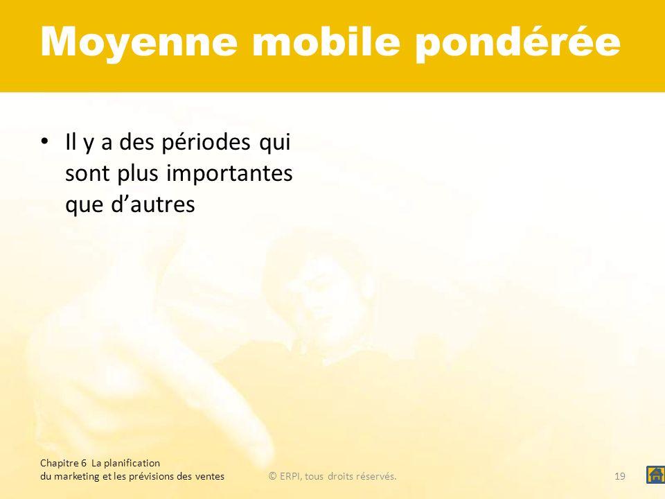 Moyenne mobile pondérée Il y a des périodes qui sont plus importantes que dautres Chapitre 6 La planification du marketing et les prévisions des vente