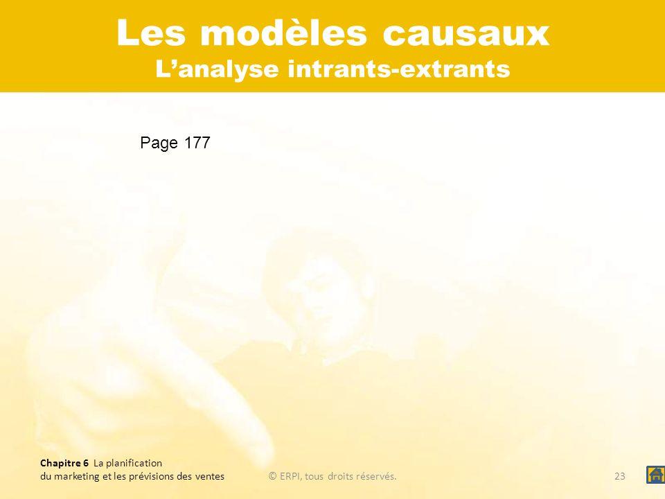 Chapitre 6 La planification du marketing et les prévisions des ventes© ERPI, tous droits réservés.23 Les modèles causaux Lanalyse intrants-extrants Pa