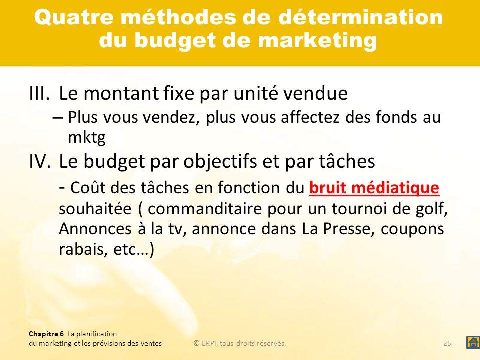 Chapitre 6 La planification du marketing et les prévisions des ventes© ERPI, tous droits réservés.25 Quatre méthodes de détermination du budget de mar