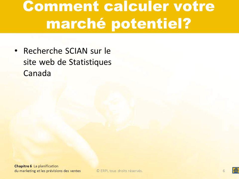 Comment calculer votre marché potentiel? Recherche SCIAN sur le site web de Statistiques Canada Chapitre 6 La planification du marketing et les prévis