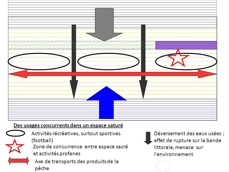 Des usages concurrents dans un espace saturé Activités récréatives, surtout sportives (football) Zone de concurrence entre espace sacré et activités p