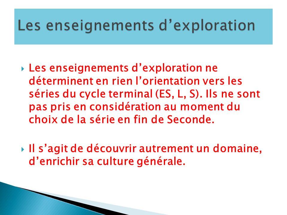 Les enseignements dexploration ne déterminent en rien lorientation vers les séries du cycle terminal (ES, L, S).