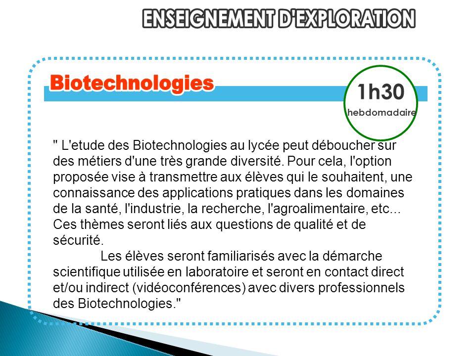 L etude des Biotechnologies au lycée peut déboucher sur des métiers d une très grande diversité.