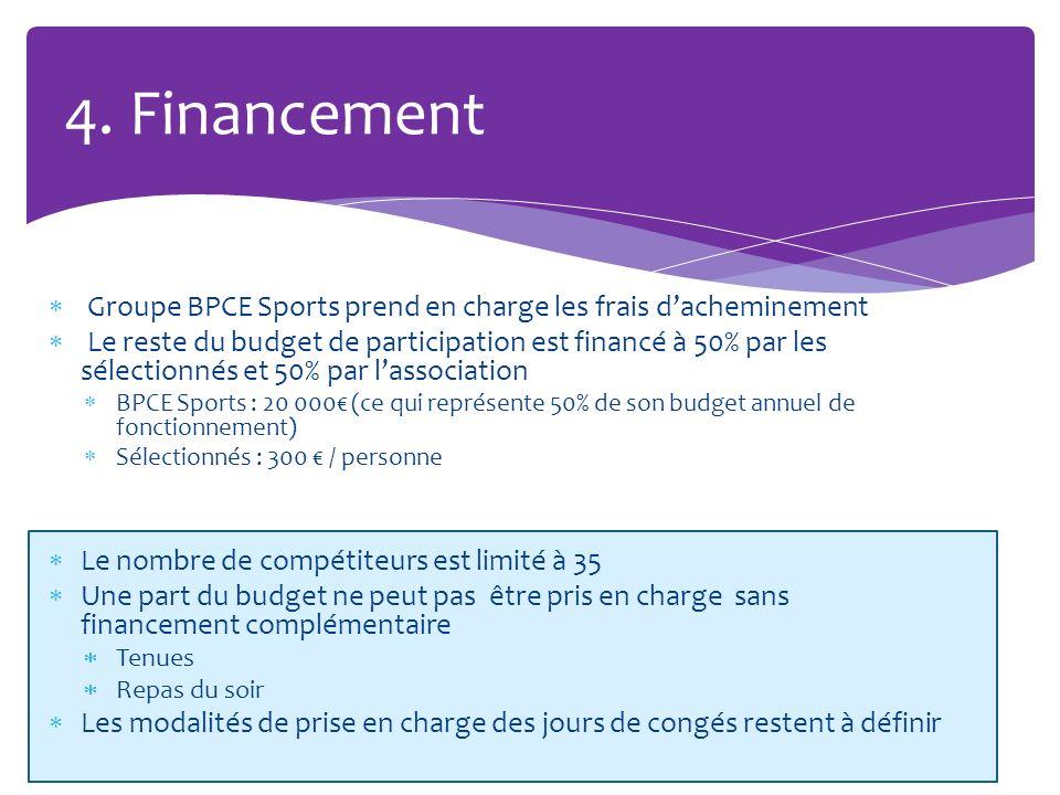 Groupe BPCE Sports prend en charge les frais dacheminement Le reste du budget de participation est financé à 50% par les sélectionnés et 50% par lasso